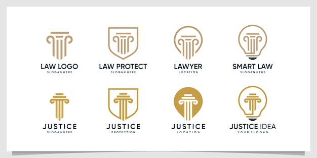 Collection De Logo D'avocat Avec Différents éléments Vecteur Premium