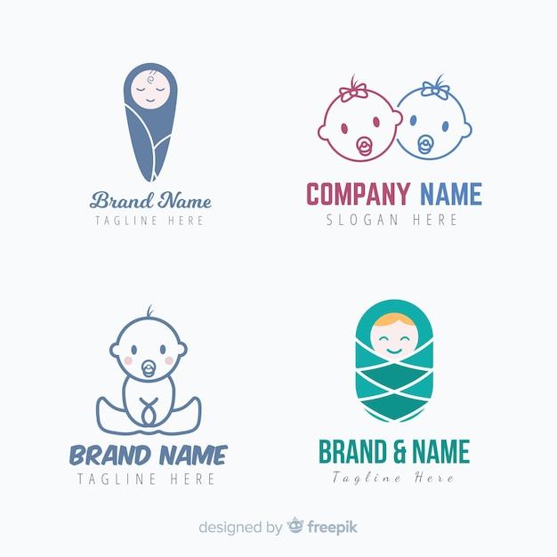 Collection de logo de bébé Vecteur gratuit