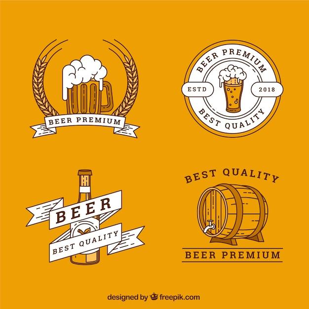 Collection de logo de bière plate Vecteur gratuit