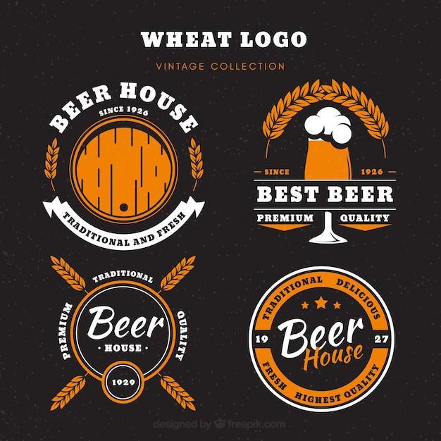 Collection de logo de bière vintage Vecteur gratuit