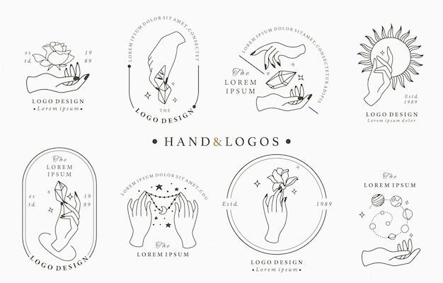 Collection De Logo Boho Beauté Avec Main Vecteur Premium