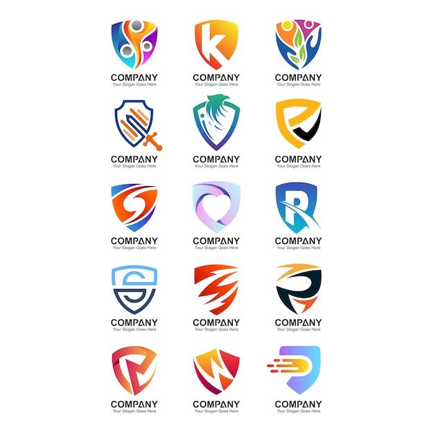 Collection de logo de bouclier Vecteur Premium
