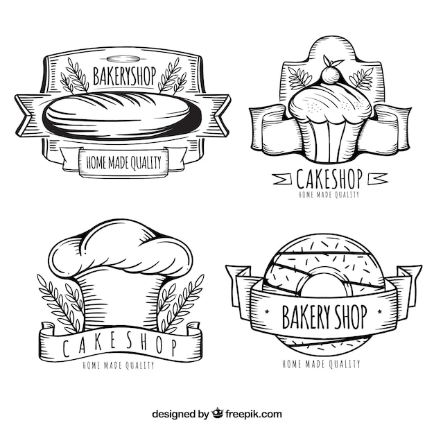 Collection de logo de boulangerie dessiné main Vecteur gratuit