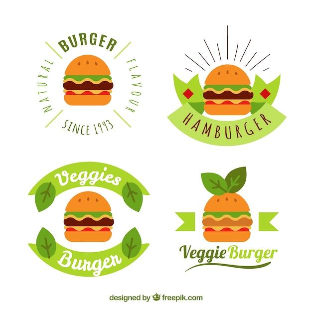 Collection De Logo Burger Avec Design Vert Vecteur gratuit