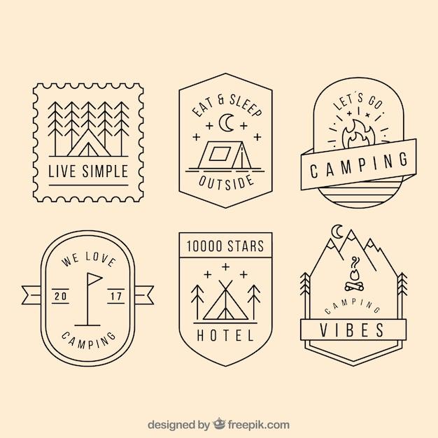 Collection de logo de camping Vecteur gratuit