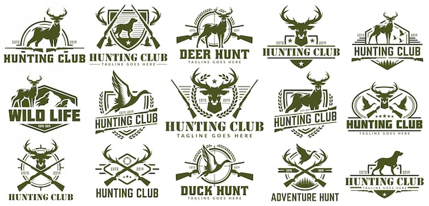 Collection de logo de chasse, vector ensemble d'étiquette de chasse, insigne ou emblème, logo de chasse au canard et au cerf Vecteur Premium