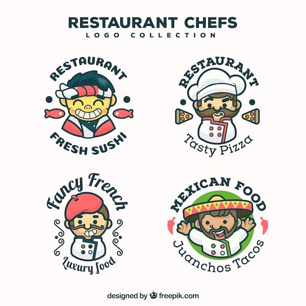 Collection de logo de chef de restaurant Vecteur gratuit