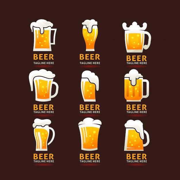 Collection de logo de chope de bière mousseuse Vecteur Premium