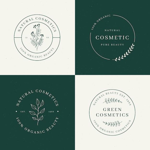 Collection De Logo De Cosmétiques Nature Vecteur Premium
