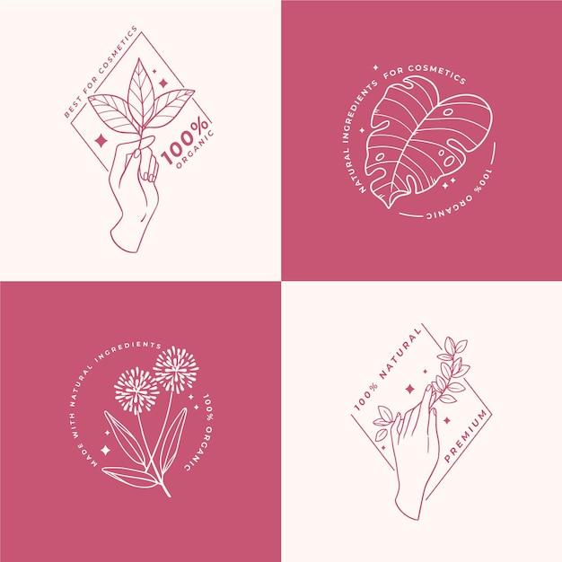 Collection De Logo De Cosmétiques Nature Vecteur gratuit