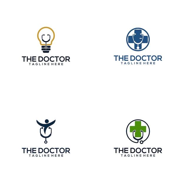 Collection de logo de docteur médical Vecteur Premium