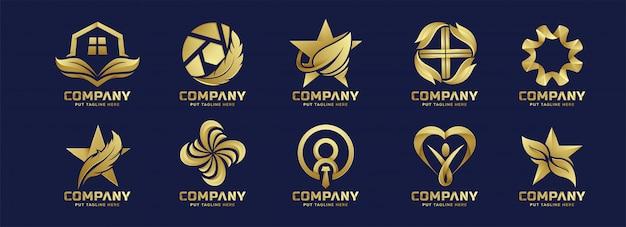 Collection De Logo Doré Abstrait Affaires Vecteur Premium