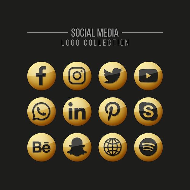 Collection de logo doré des médias sociaux sur fond noir Vecteur Premium