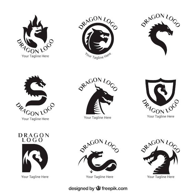 Collection De Logo Dragon Avec Un Design Plat Vecteur Premium