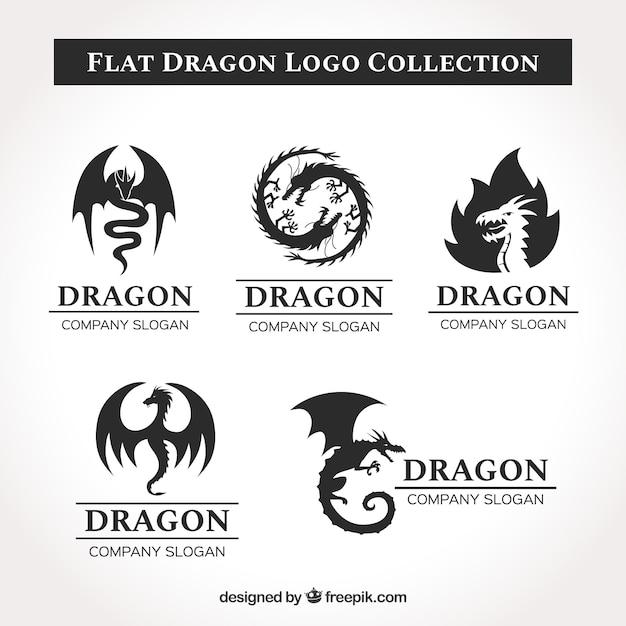 Collection de logo dragon avec un design plat Vecteur gratuit