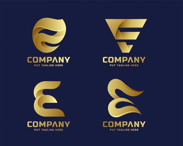 Collection de logo e initiale de lettre d'or de création d'entreprise Vecteur Premium