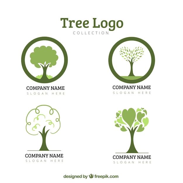 Collection de logo eco tree Vecteur gratuit