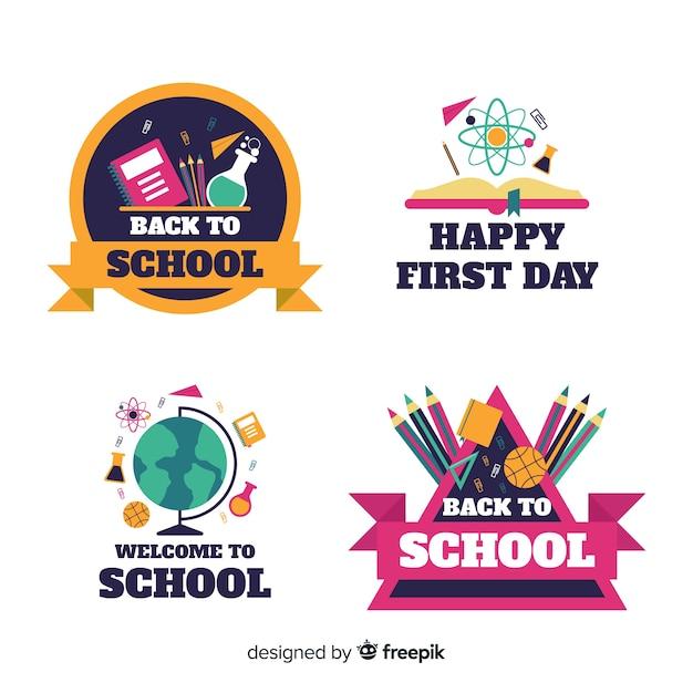 Collection de logo d'école de design plat Vecteur gratuit