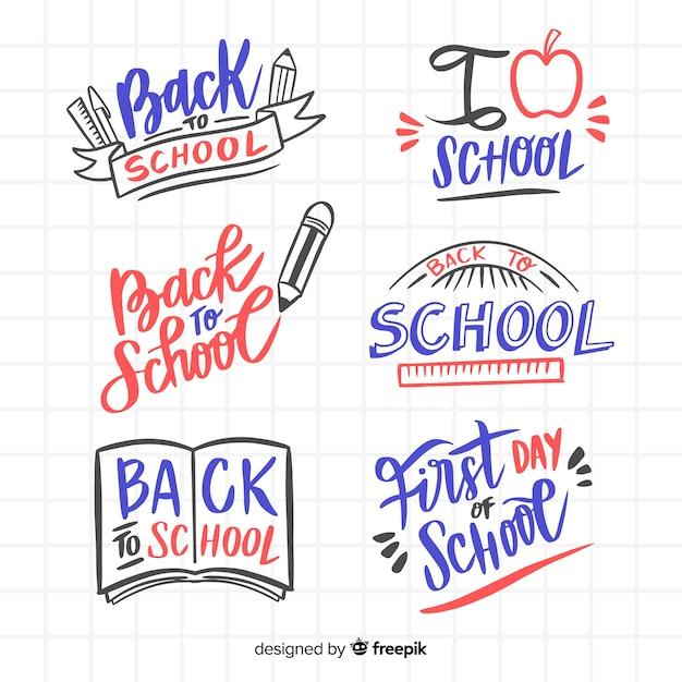 Collection de logo d'école dessinée à la main Vecteur gratuit