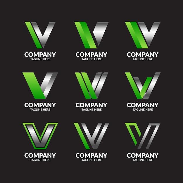 Collection De Logo élégante Lettre V Moderne Vecteur Premium