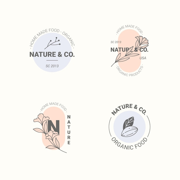 Collection de logo d'entreprise naturelle dans un style minimal Vecteur gratuit