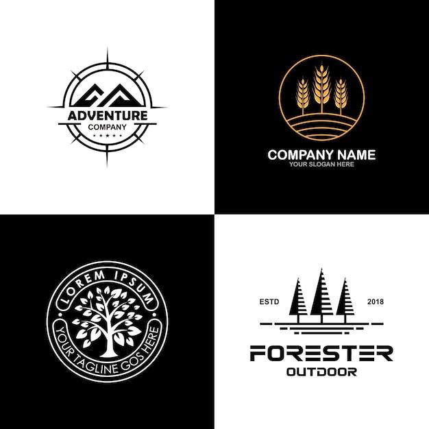 Collection de logo environnement et plein air Vecteur Premium