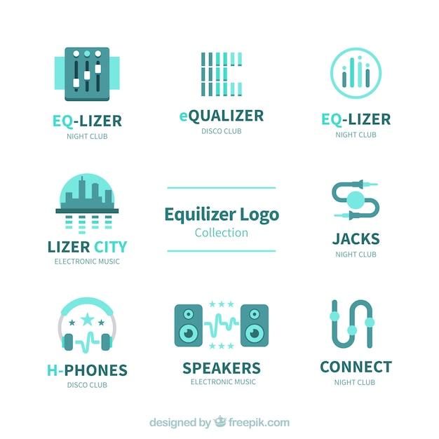 Collection De Logo Equalizer Avec Un Design Plat Vecteur Premium