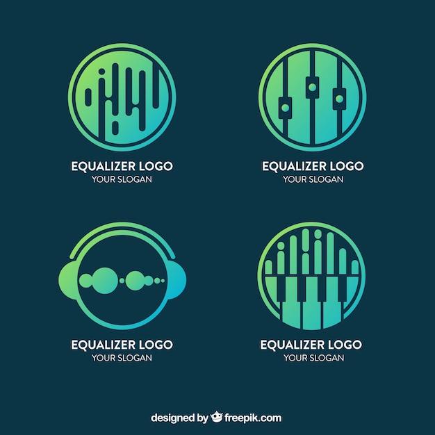 Collection de logo equalizer avec style dégradé Vecteur gratuit
