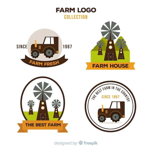 Collection de logo ferme brun plat Vecteur gratuit