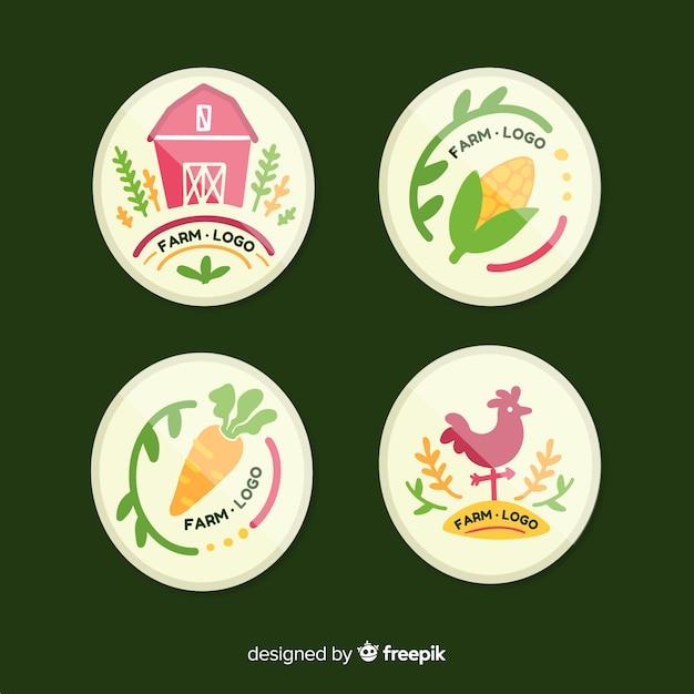 Collection de logo de ferme dessinés à la main Vecteur gratuit