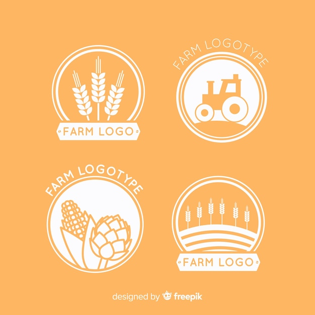 Collection de logo ferme orange plat Vecteur gratuit