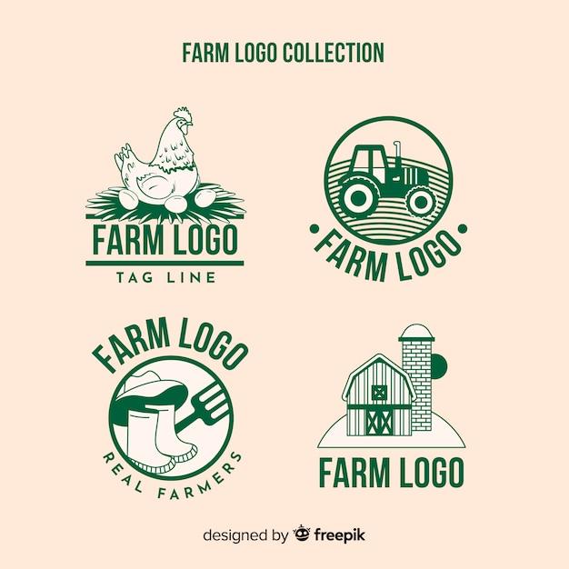 Collection de logo de ferme plat vert Vecteur gratuit