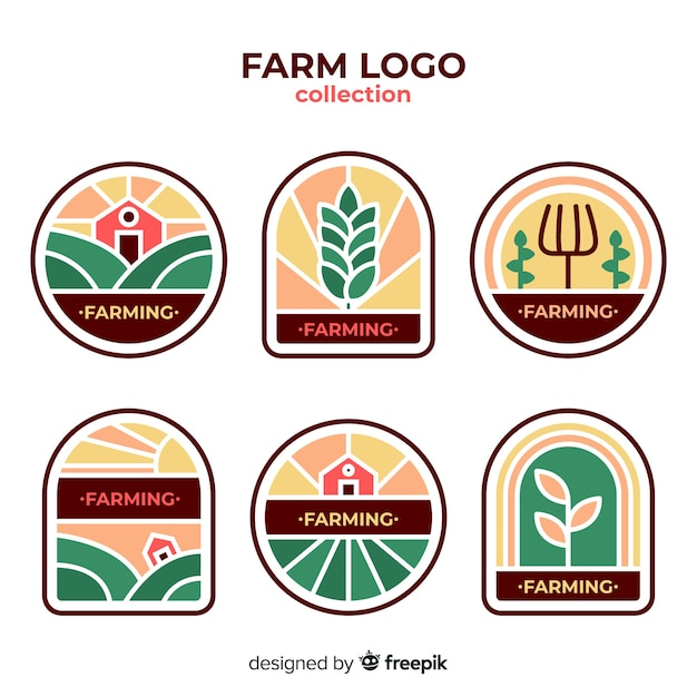 Collection de logo ferme plate Vecteur gratuit