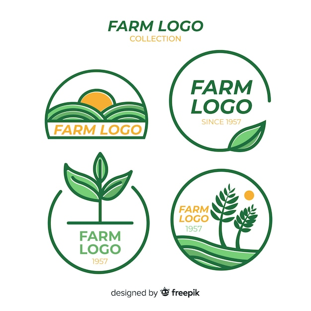 Collection de logo ferme plate Vecteur gratuit