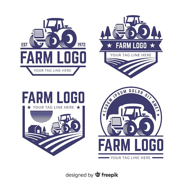 Collection De Logo Ferme Plate Vecteur Premium