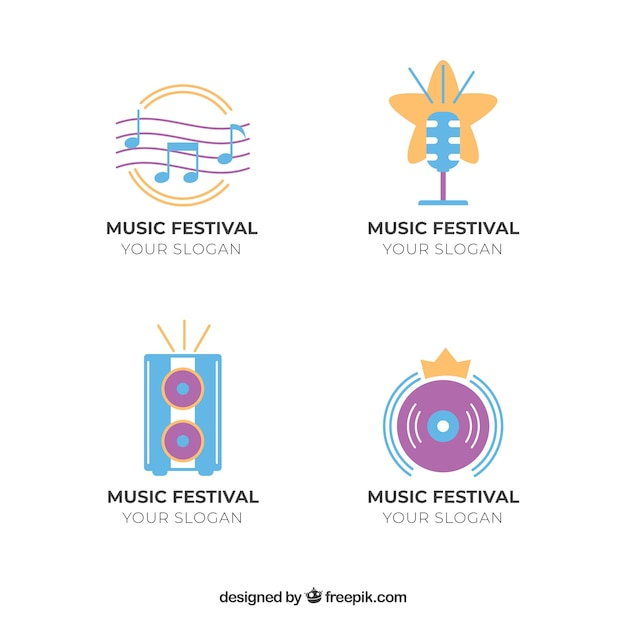 Collection De Logo De Festival De Musique Avec Un Design Plat Vecteur gratuit