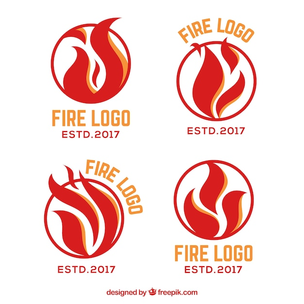 Collection de logo feu design plat Vecteur gratuit