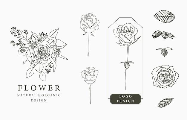 Collection De Logo De Fleur Noire Avec Des Feuilles, Géométrique. Vecteur Premium