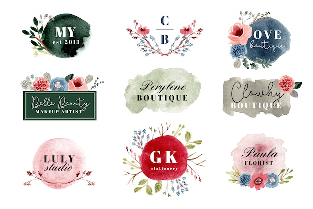 Collection de logo floral aquarelle premade Vecteur Premium