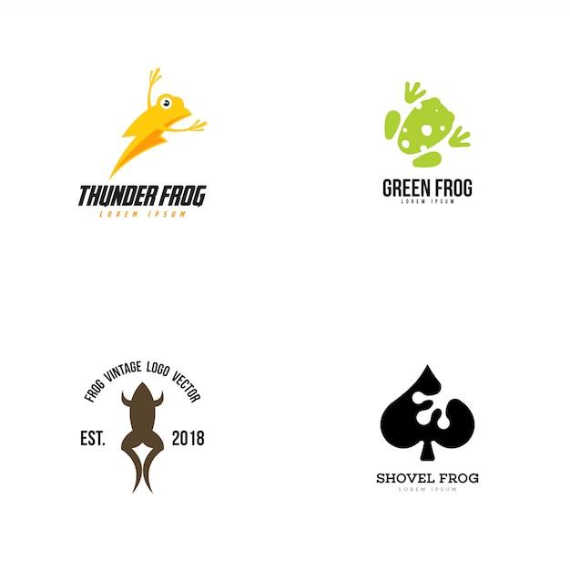 Collection logo grenouille Vecteur Premium