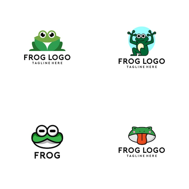 Collection logo grenouille Vecteur Premium