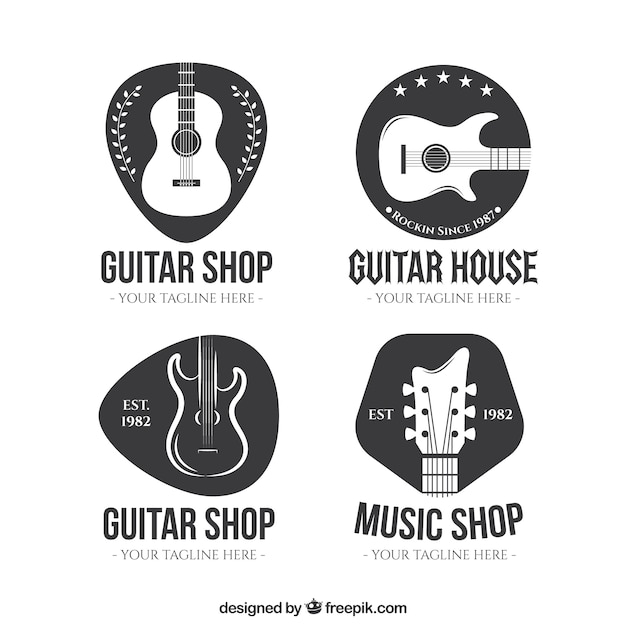 Collection De Logo De Guitare Vecteur Premium