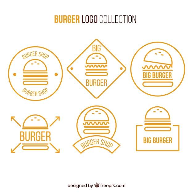 Collection De Logo D'hamburger Jaune Et Blanc Vecteur Premium