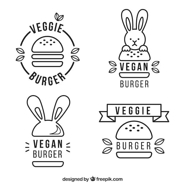 Collection De Logo De Hamburger Végétalien Vecteur gratuit