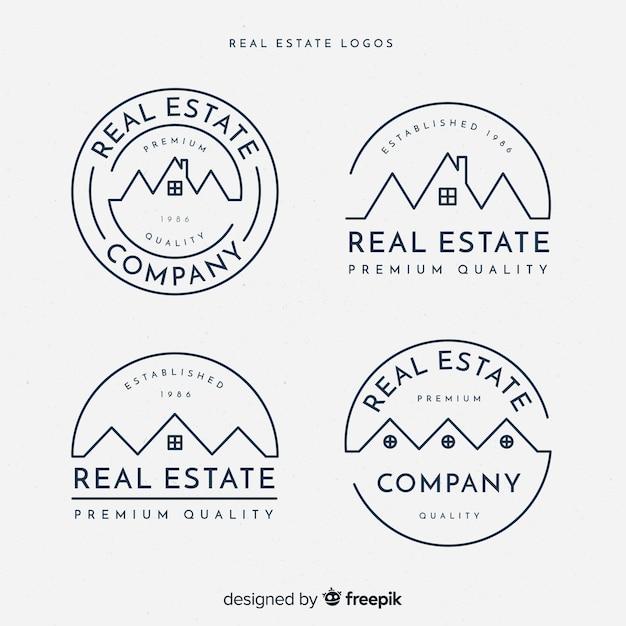 Collection de logo immobilier élégant Vecteur gratuit