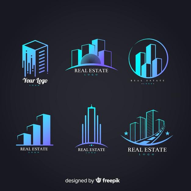 Collection de logo immobilier moderne Vecteur gratuit