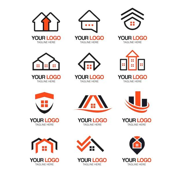 Collection de logo immobilier moderne Vecteur Premium