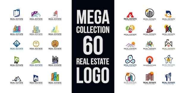 Collection de logo immobilier Vecteur Premium