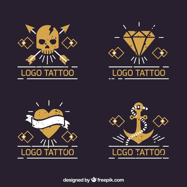 Collection de logo jaune pour tatouage Vecteur gratuit