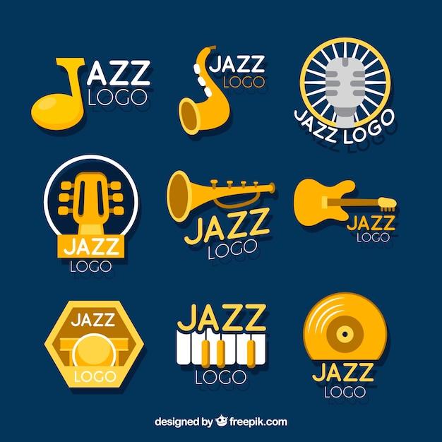 Collection de logo jazz avec un design plat Vecteur gratuit